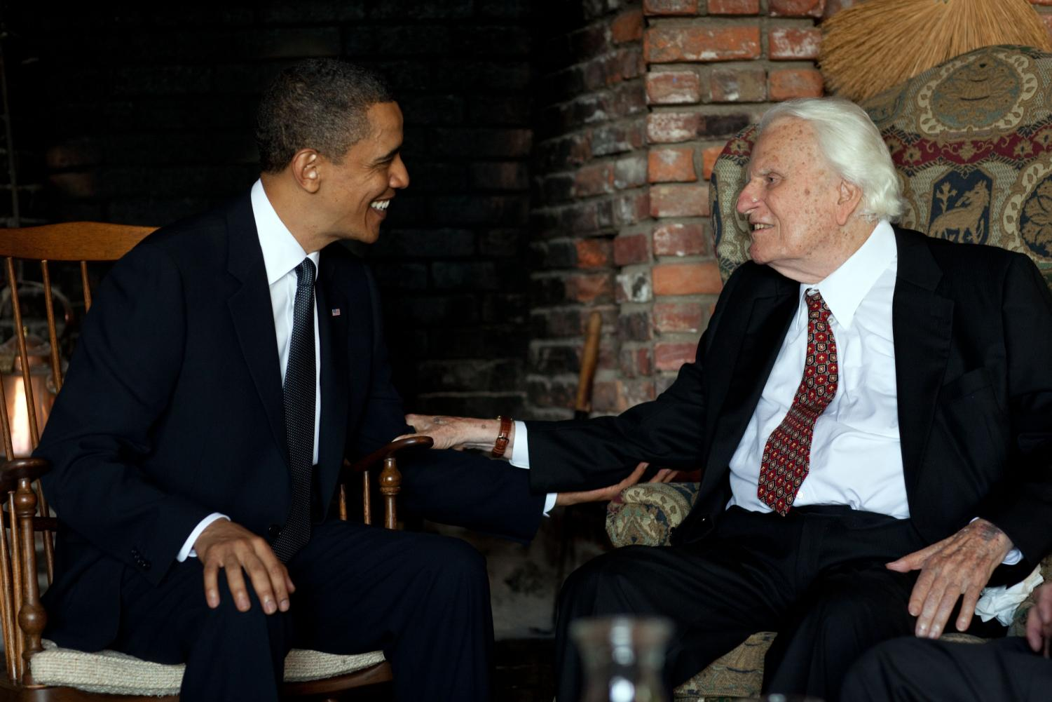 Billy Graham with former President Barack Obama in 2010. Photo via Wikimedia Commons under Creative Commons license.
