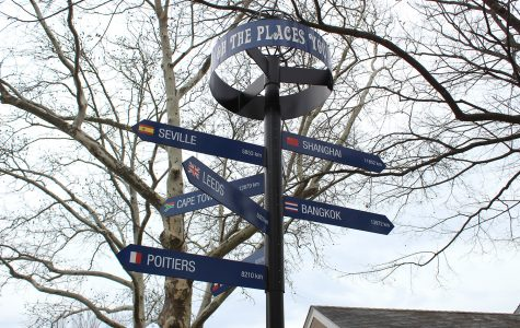 Photo of the a pole with signs that point in the direction of different places.