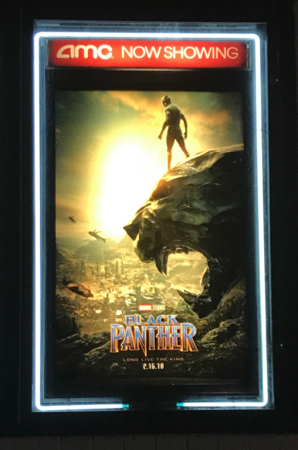 Photo features Black Panther poster that shows a man standing on a panther statue carved out of rock looking out into a city that is on fire.
