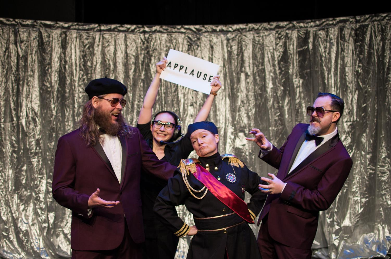 Christopher Shorr (from right) with colleagues from Touchstone Theatre James Jordan, Emma Ackerman, and Mary Wright. Photo provided by Christina Byrne.