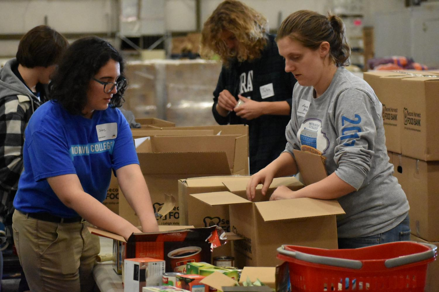 Moravian College students and faculty came together to organize food for Second Harvest Food Pantry.