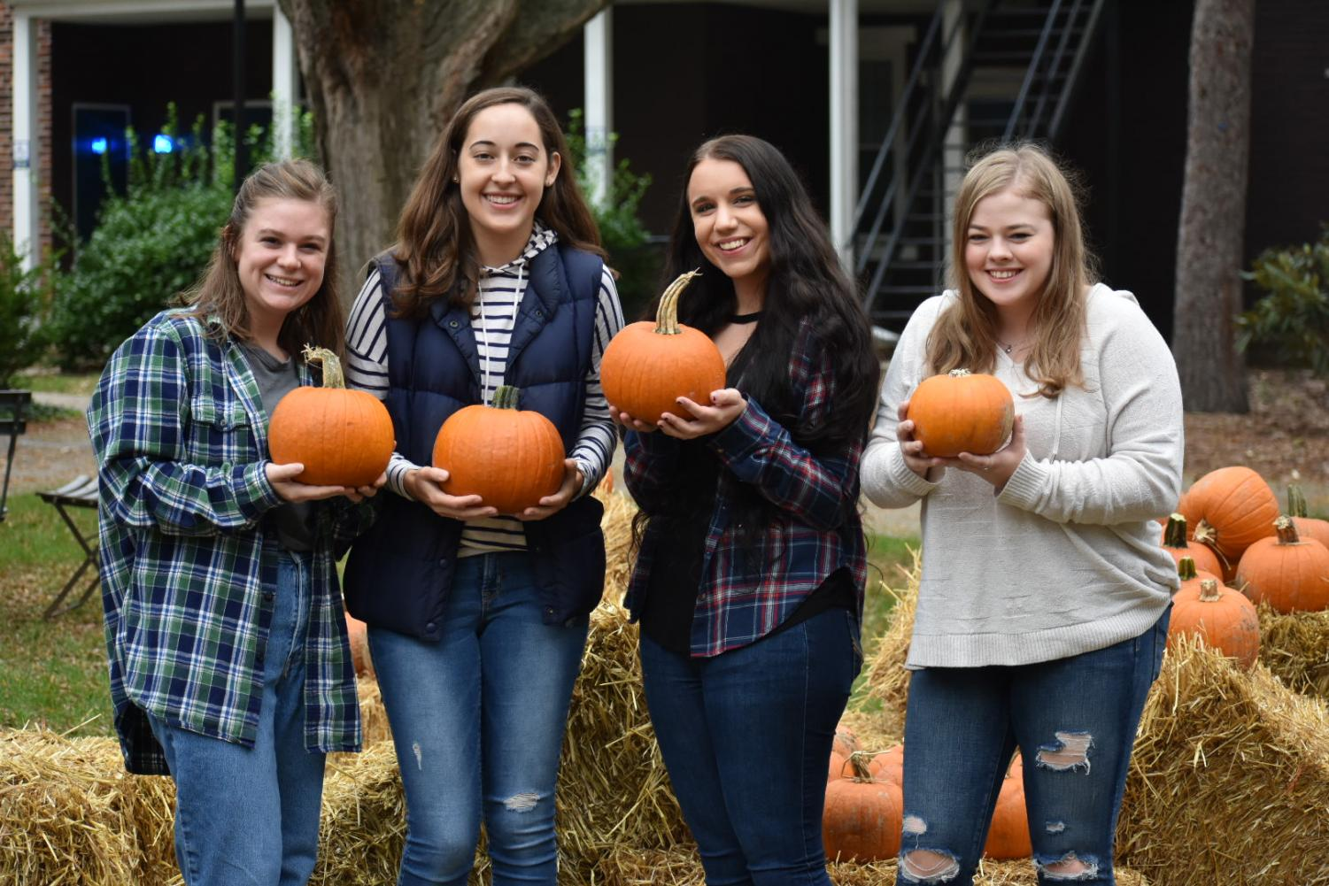 Moravian students pose with their pumpkins at the annual Fall Fest.