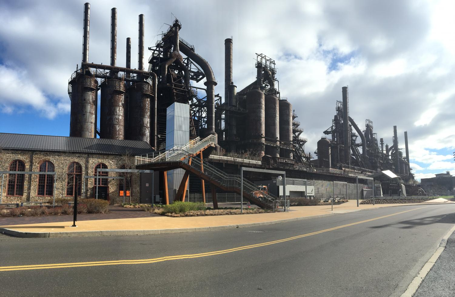The Bethlehem Steelstacks located near Christkindlmarkt.
