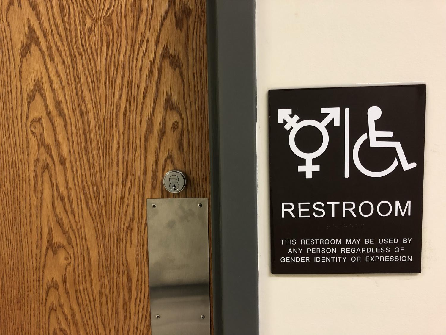 Gender neutral bathroom signs are featured throughout Moravian's campus to welcome people regardless of their sexual identity.
