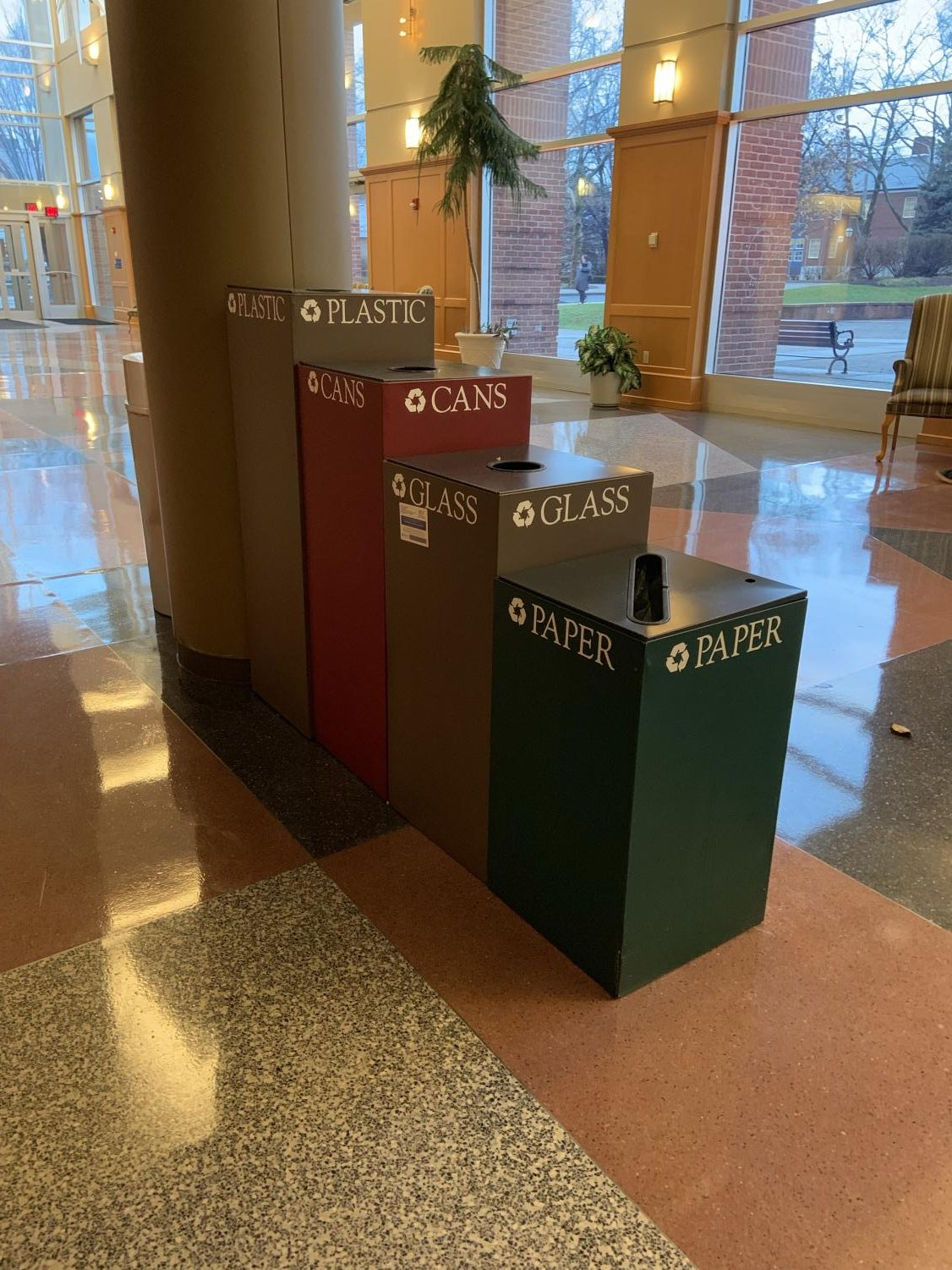 Garbage cans and recycling bins in PPHAC invite students and faculty to properly dispose of their waste and practice environmentally friendly procedures.