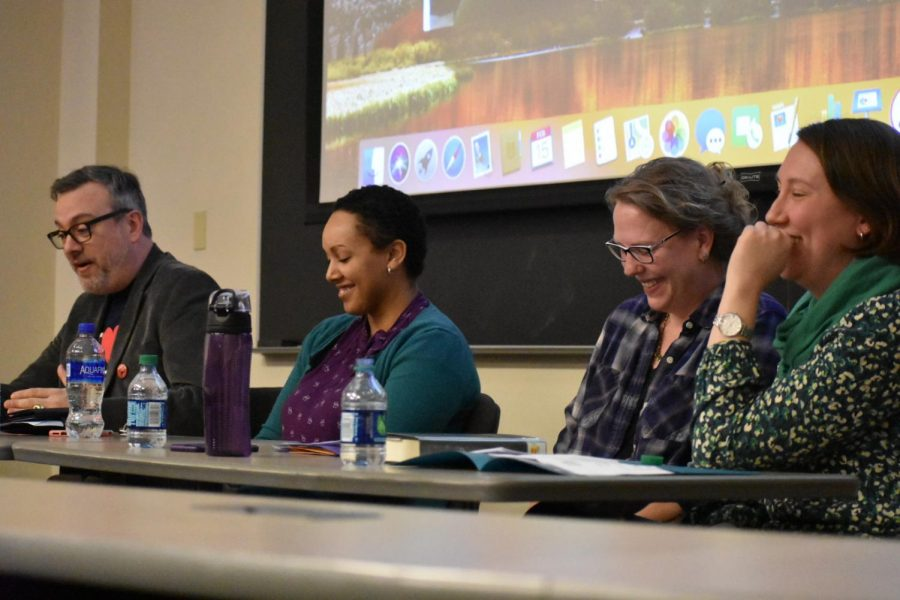 Panelists+of+popular+authors+at+the+2019%2C+Moravian+College+Writing+Conference.+From+left+to+right%3A+Josh+Beck%2C+Justina+Ireland%2C+A.S.+King%2C+and+Moderator+Kate+Racculia.+Not+shown%3A+Saundra+Mitchell