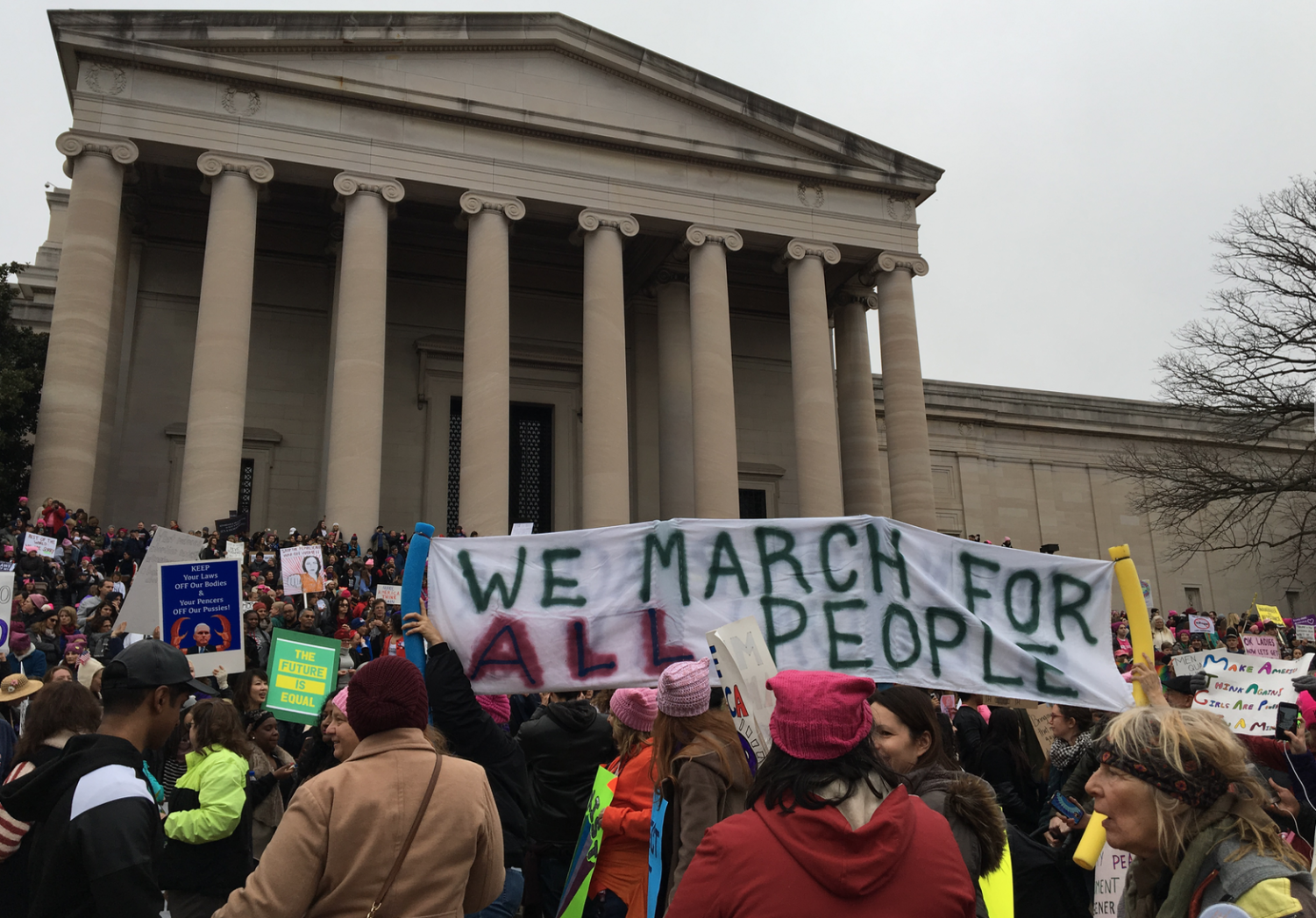 People protest at the Women's March on Washington on January 24, 2017.