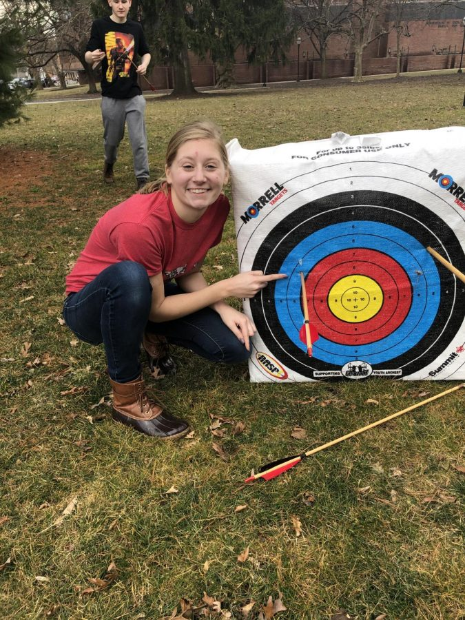The+students+in+the+history+class+experimental+archeology+were+out+doing+fun+labs+once+again.+This+week+they+tried+out+archery%21+Here%27s+a+student+who+managed+to+make+a+hit+with+the+recurve+bow.