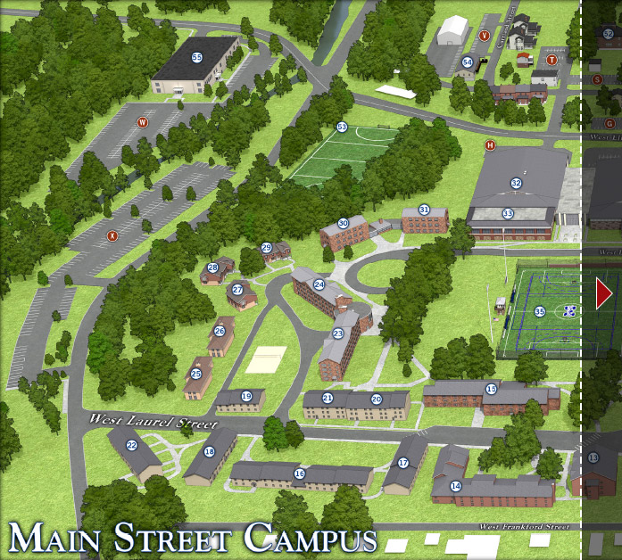 A section of the Moravian Campus map featuring the new commuter parking lot, Lot X.
