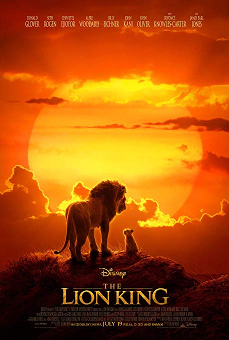 The movie poster for the new Lion King movie.