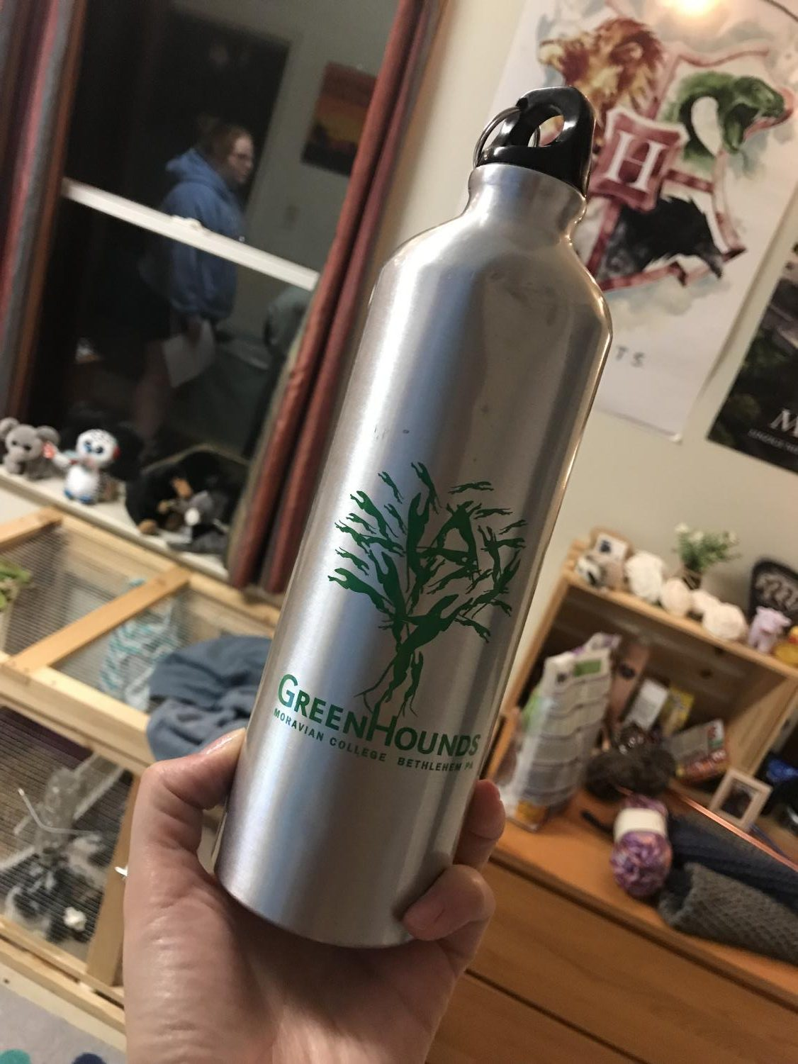 A reusable water bottle, which is one of the best ways to be more sustainable around campus.