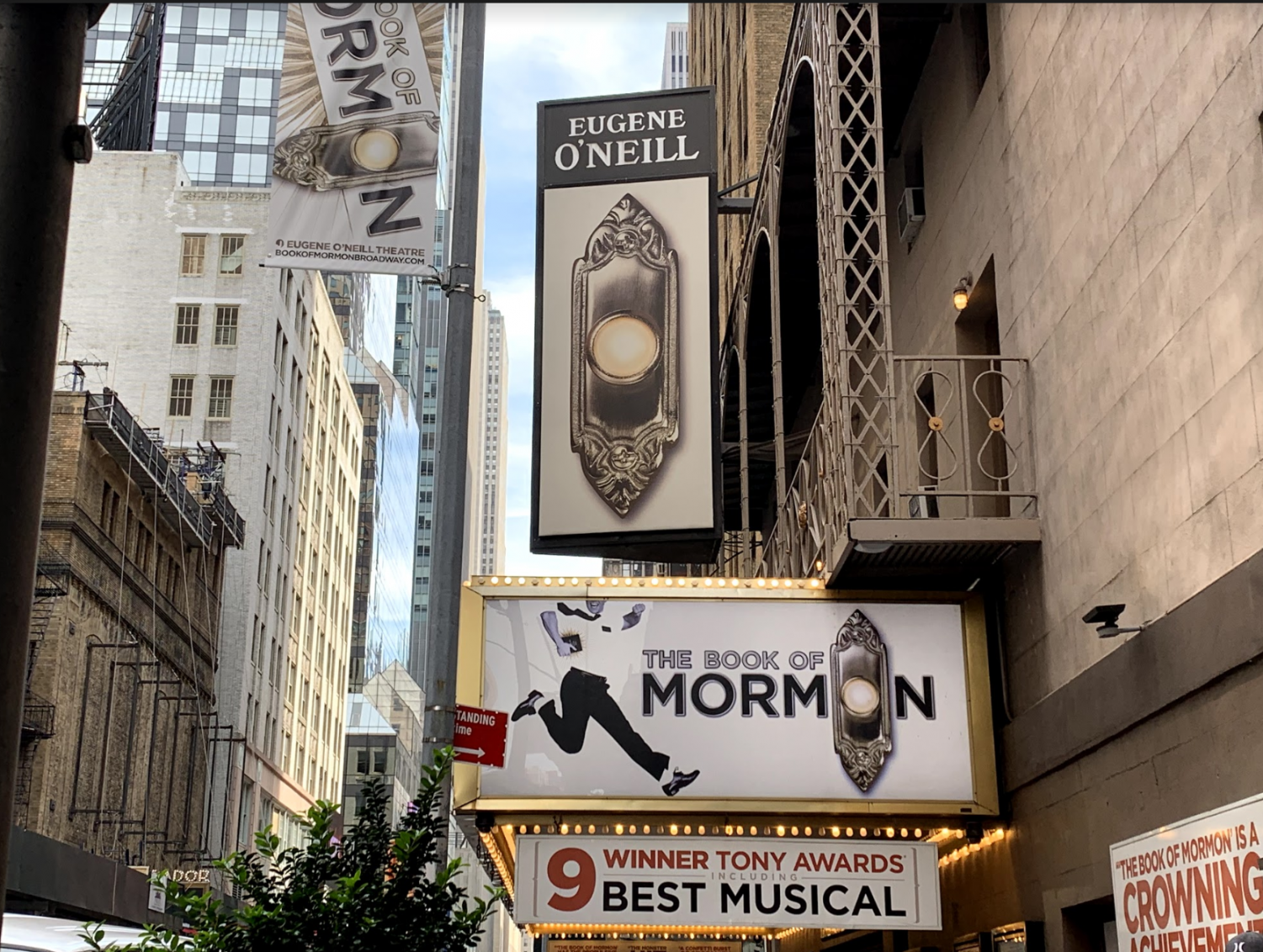 A photo of the outside of the Book of Mormon theater.