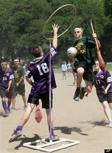 real-life quidditch being played at a school