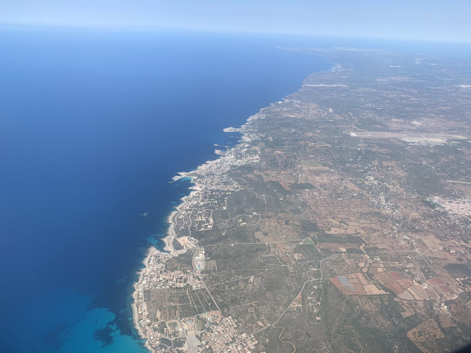 A view of coastal Spain from an airplane
