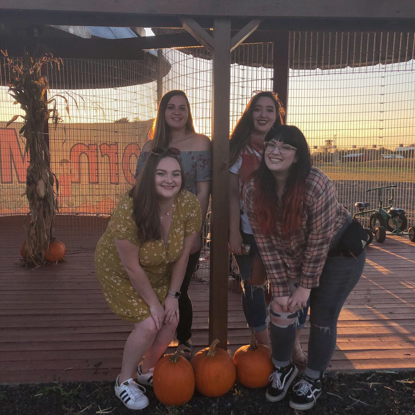 Four Moravian students visiting a local pumpkin patch to kick off the fall season. Photo courtesy of Emma Hutchman and Alyssa Flannery.