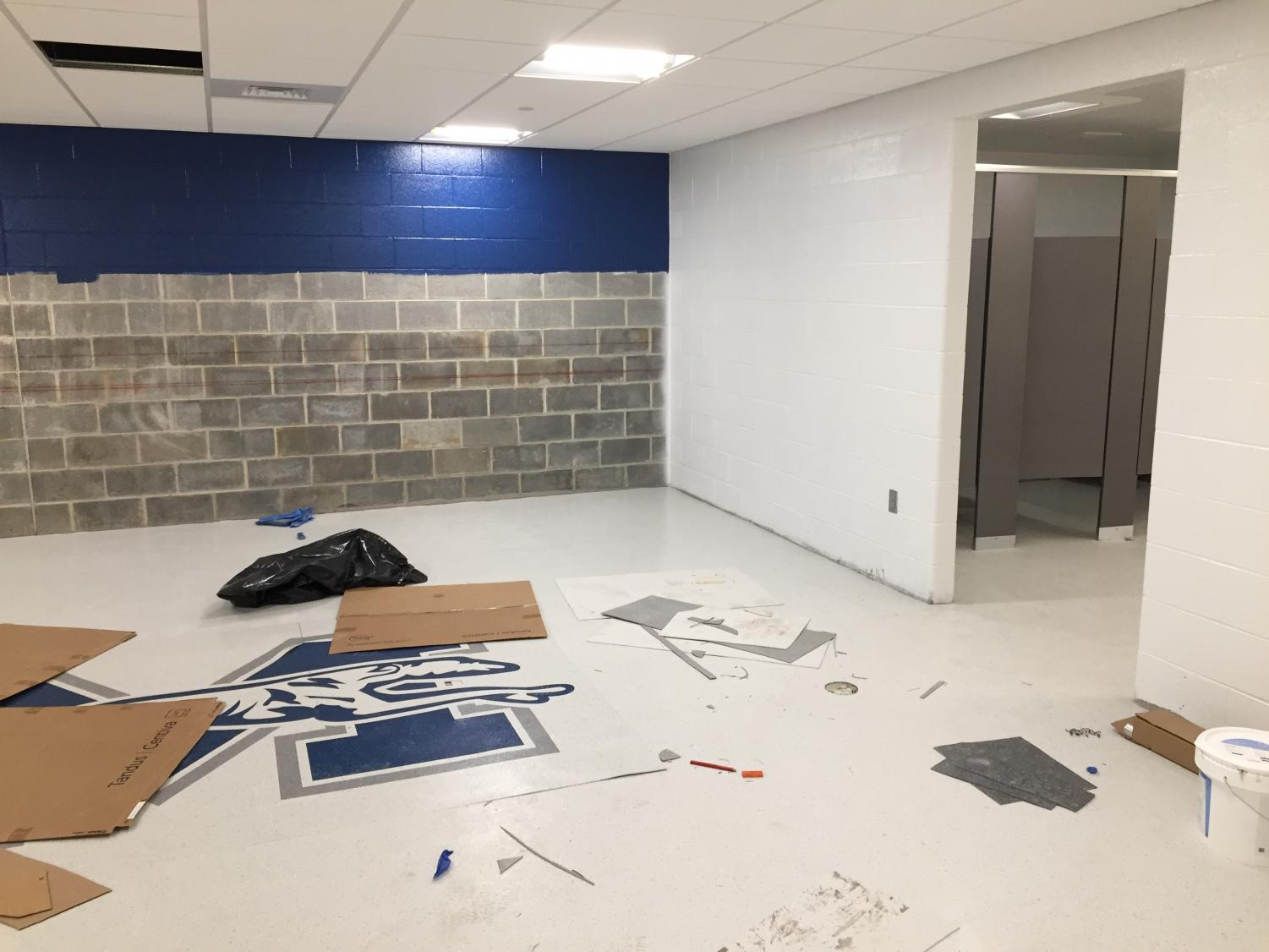 The current inside of the new locker room area, which is in progress.