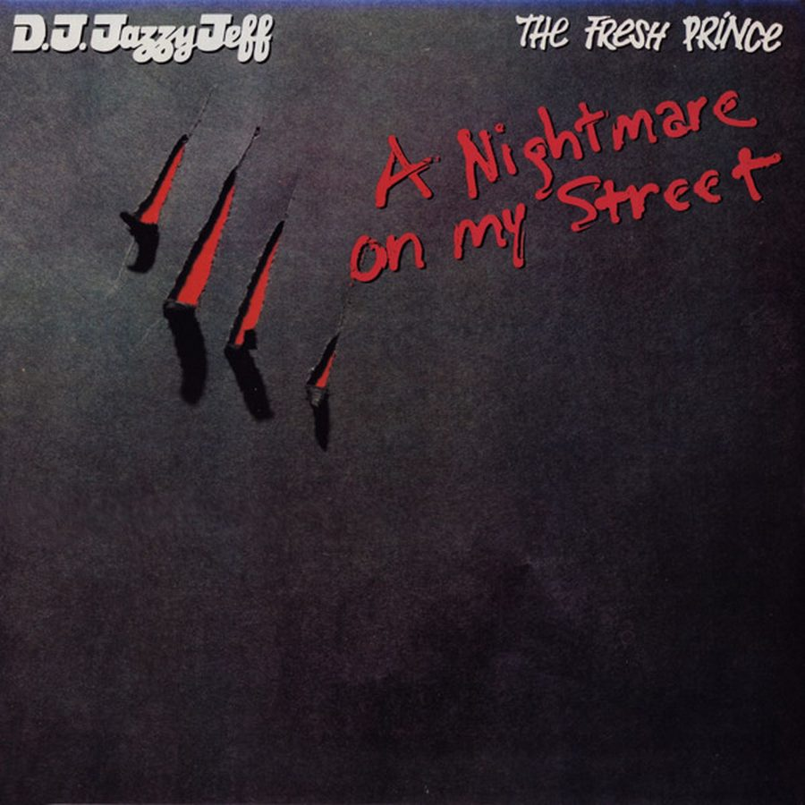 The+album+cover+for+the+single+%22A+Nightmare+on+My+Street%22+by+D.J.+Jazzy+Jeff+and+the+Fresh+Prince%2C+featuring+Freddy+Krueger%27s+iconic+slash+marks.