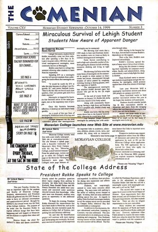 The front page of the Comenian print edition from October 14, 1999.