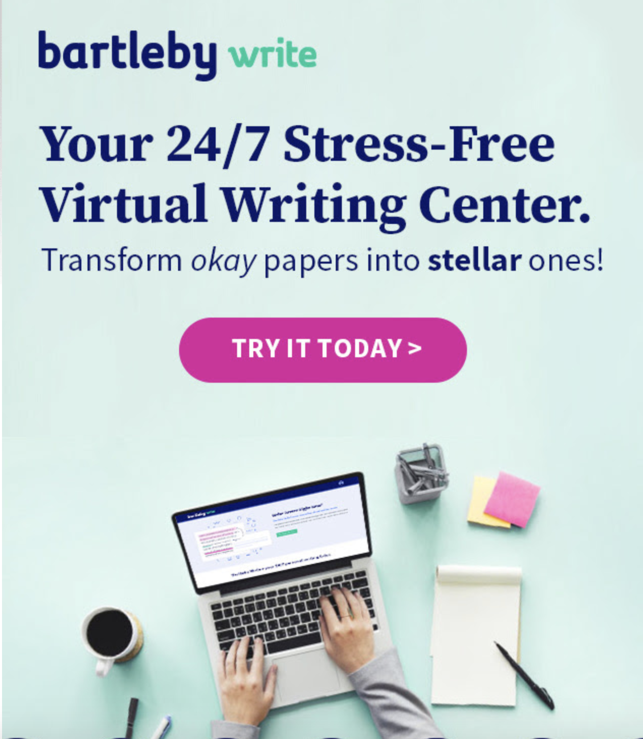 A screenshot of the promotional material sent to the whole campus advertising the Bartleby Virtual Writing Center.