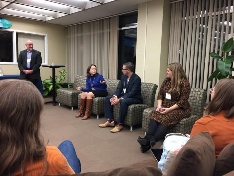 Speakers at the English Department's Coffee and Connections event. From left to right, Dr. John Black, Megan Decker Szvetecz '08, Stephen Gross '11, Kate Cohen '14.