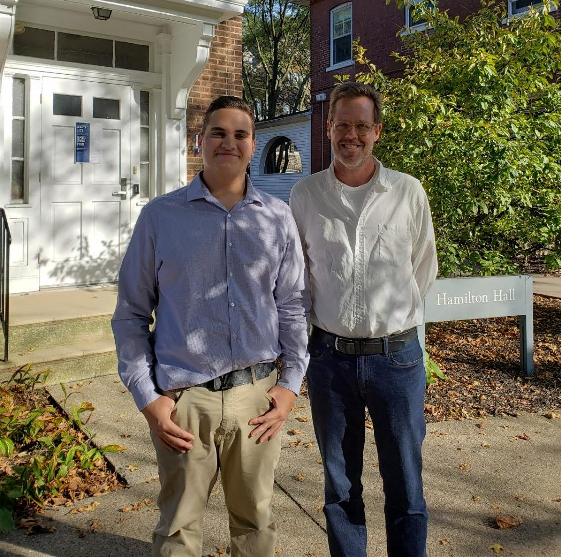 Brian Utzat, writer (left), and Dean Jasper (right) after disscussing Jasper's new role at Moravian