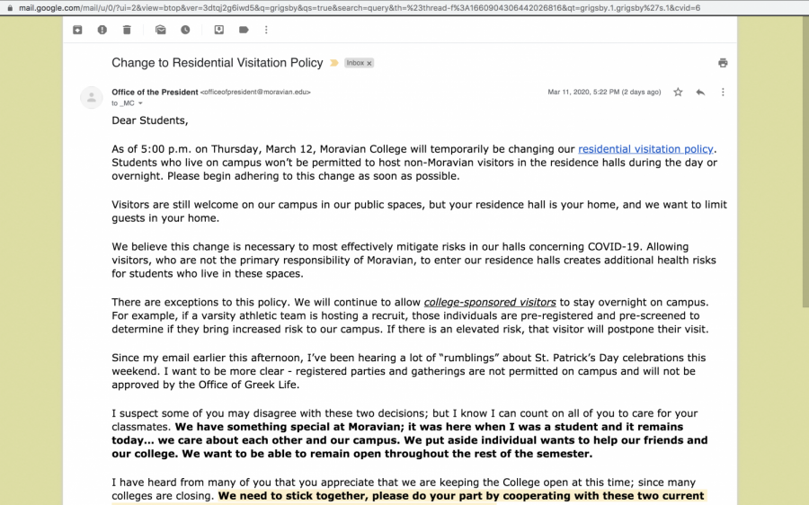 The+email+from+President+Grigsby+about+the+new+visitor+policy.+
