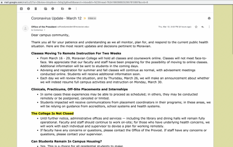 Part one of the email announcing the online-only policy.