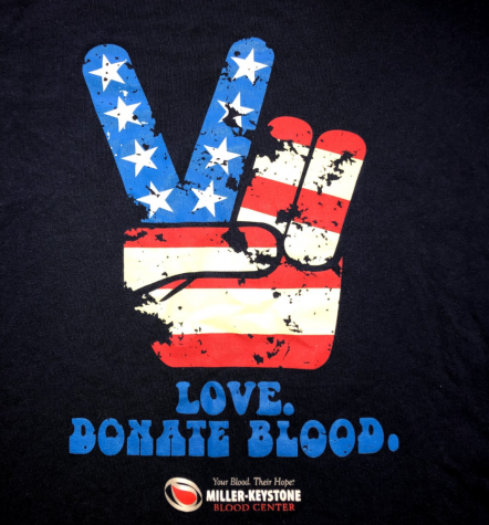 A t-shirt design from Miller-Keystone Blood Center encouraging donations.