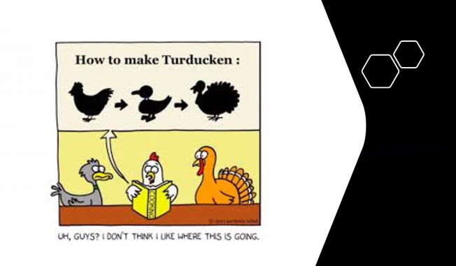 """A visual representation of what Rehill calls """"The Great Turducken:"""" an election wrapped in a social movement wrapped in a pandemic."""