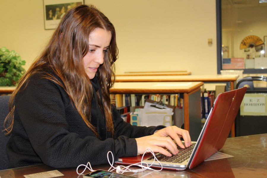 Photo of student working on a computer.