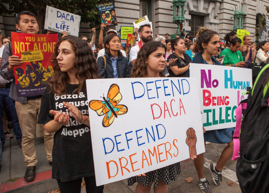Photo of DACA recipients protesting changes.