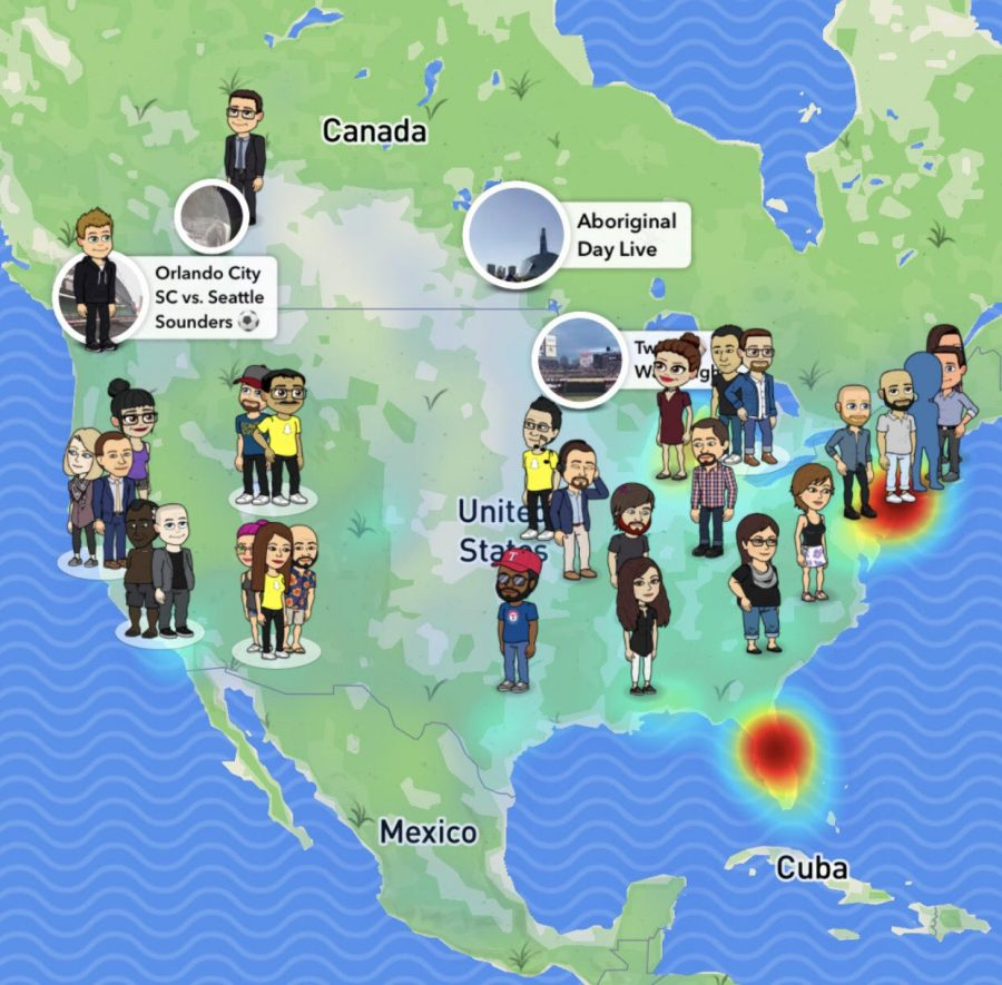 Photo of Snapchat Map that displays the United States with various cartoon emojis on the map.
