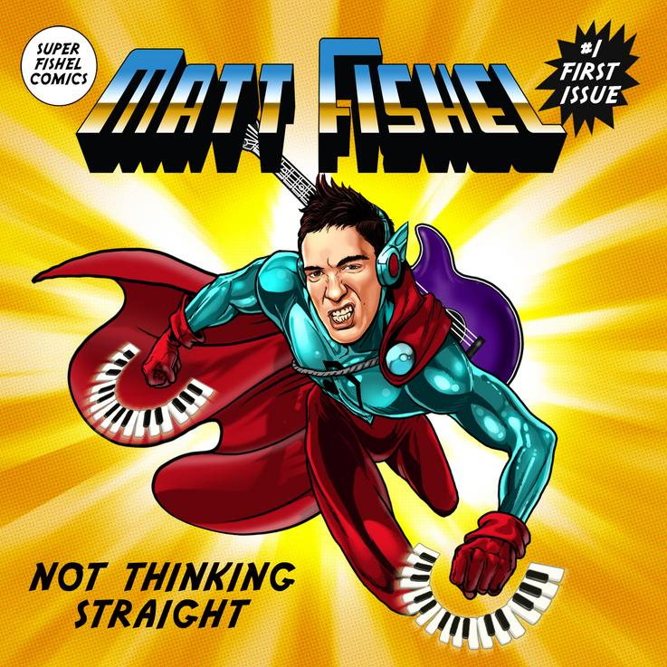 Picture features a cartoon image of a muscle superhero wearing mint green, purple, and red flying out of the album cover.