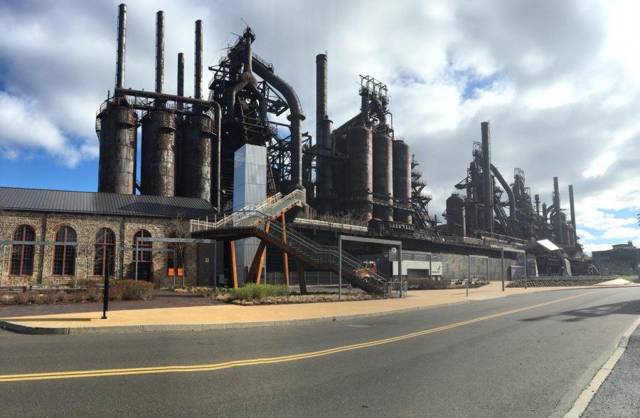 The Bethlehem Steelstacks located near Christkindlmarkt.