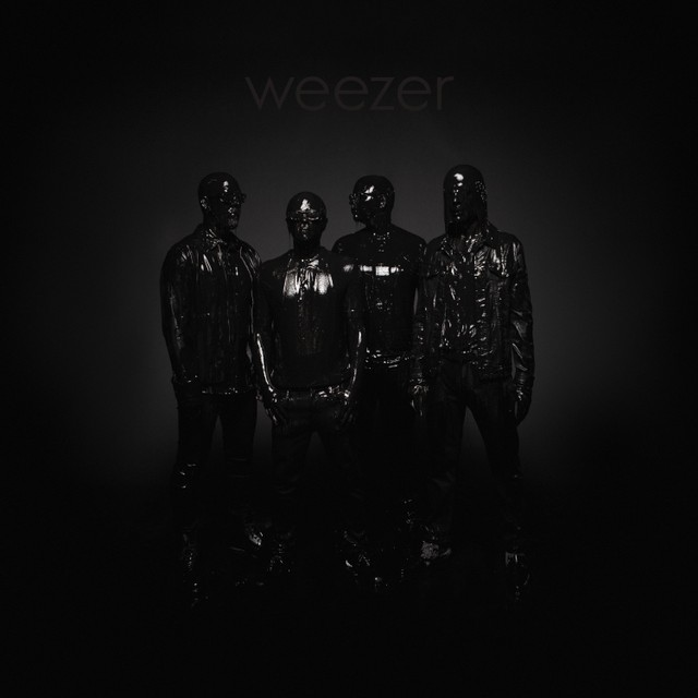 The black-clad band Weezer on the cover of their new album nicknamed