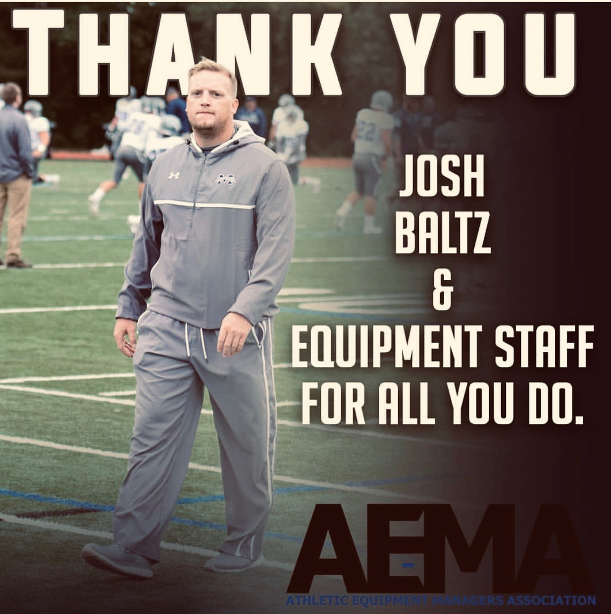 """a photo of boltz that reads """"thank you john baltz and equipment staff for all you do"""""""