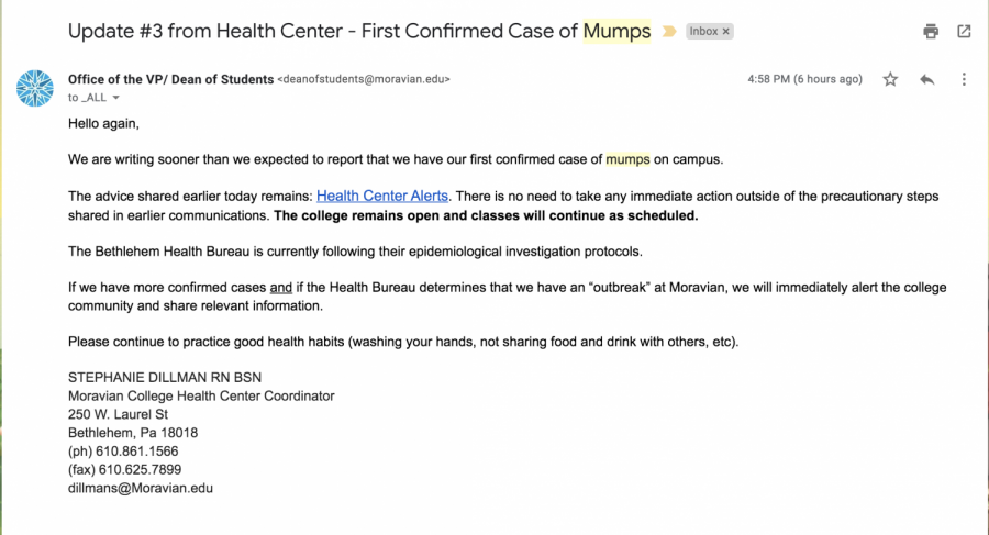 an email detailing the mumps cases on campus