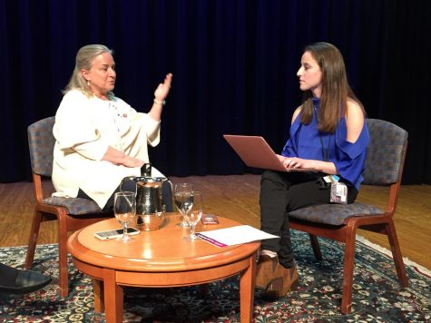 Congresswoman Susan Wild talking with our Comenian reporter post-presentation.