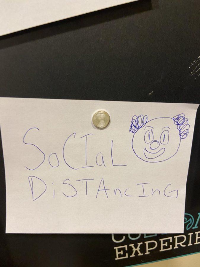 A+note+posted+at+school+last+week+poking+fun+at+social+distancing.
