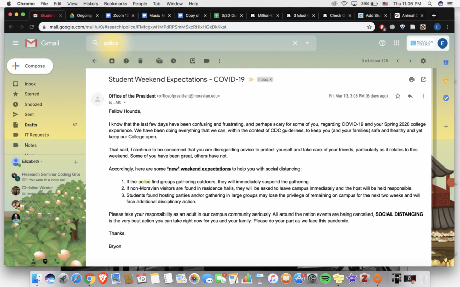 The email from President Gigsby urging students to stay in on St. Patrick's Day, threatening those who do go out with police action.