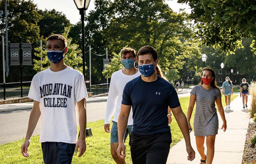 Students on campus are staying safe wearing masks, but also maintaining distance by taking online classes; Photo Courtesy of: moravian.edu/fall-2020