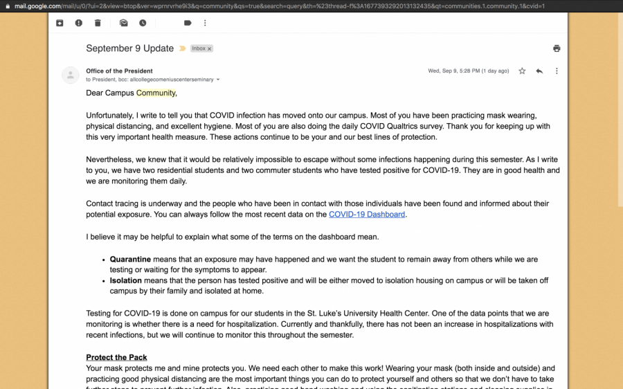 President Grigsby's September 9 email announcing that Covid has hit Moravian College.