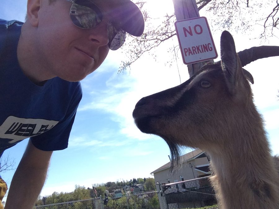 Professor McClelland feat. a goat. Photo courtesy of Jeffrey McClelland.