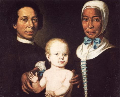 Christian Protten and Rebecca, an ex-slave and Moravian convert, as well as their child, Anna Maria Protten. Painting by Johann Valentin Haidt. Image courtesy of the Moravian Archives.