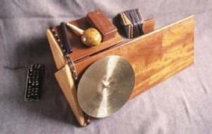 Moondog's self-made instrument, the trimba. Photo courtesy of nexuspercussion.com